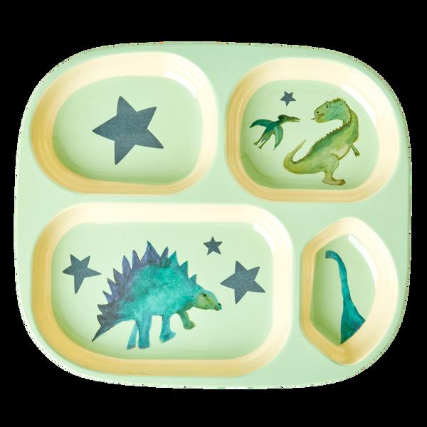 Bilde av BARNETALLERKEN MED 4 ROM - Grønn - Dinosaur Print - Rice